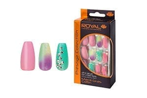 Royal 24 Mardi Gras Coffin Nail Tips with 3g Glue (NNAI246) (6pcs)