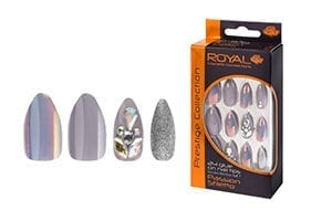 Royal 24 Passion Stiletto (Grey) Nail Tips with 3g Glue (NNAI253) (6pcs)