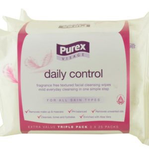 Purex Daily Control Facial Cleansing Wipes (Triple Pack - 3 x 25 Packs)